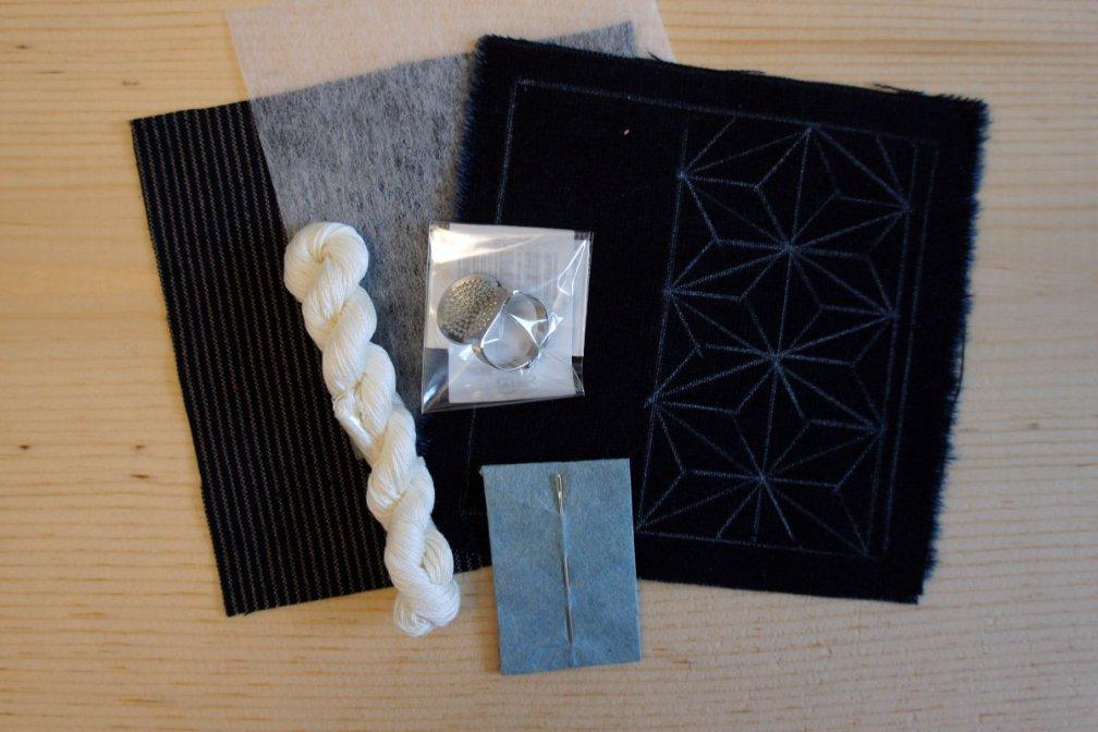 Sashiko Coaster DIY Kit | Everything you need in a minimal package S_Coaster_Min_Kit
