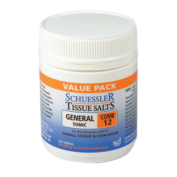 Schuessler Tissue Salts General Tonic Combo 12 x 250 tabs 00096