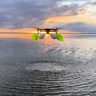DJI Mavic Pro/Platinum Float Kit with Green and Red colored 3d printed soft floats.