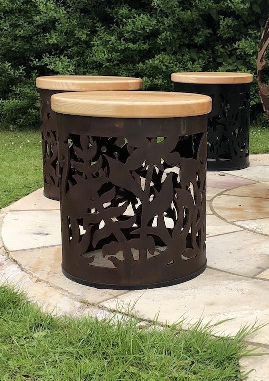 Carved Stool - Wildflower Design StoolWF