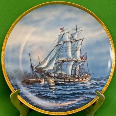 1987 Sailing Ship Collector's Plate by Marine Artist Tom Freeman, The Enterprise