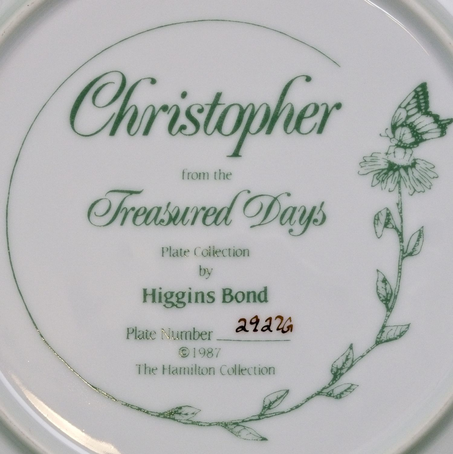 1987 Hamilton Collection Collector Plate, Christopher, Treasured Days, Higgins Bond