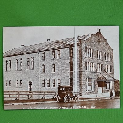 Vintage 5 X 7 Unused Postcard, 1915 Photo, Elk's Temple, Port Angeles, WA
