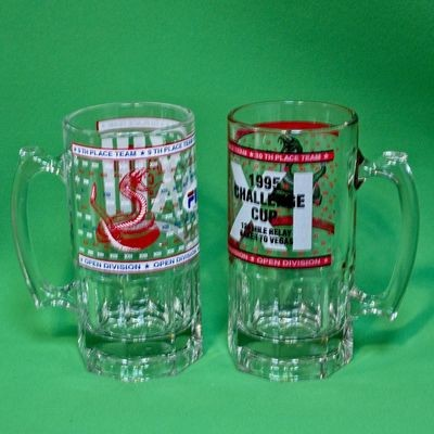 Pair Of One Liter Award Glass Tankards, 1995/1997 Baker To Vegas Relay Race