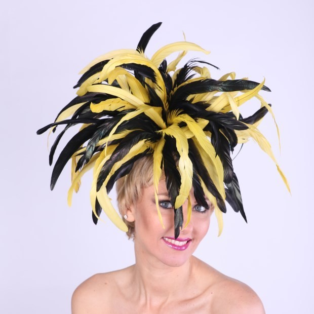 Feather Fascinator Black and Yellow