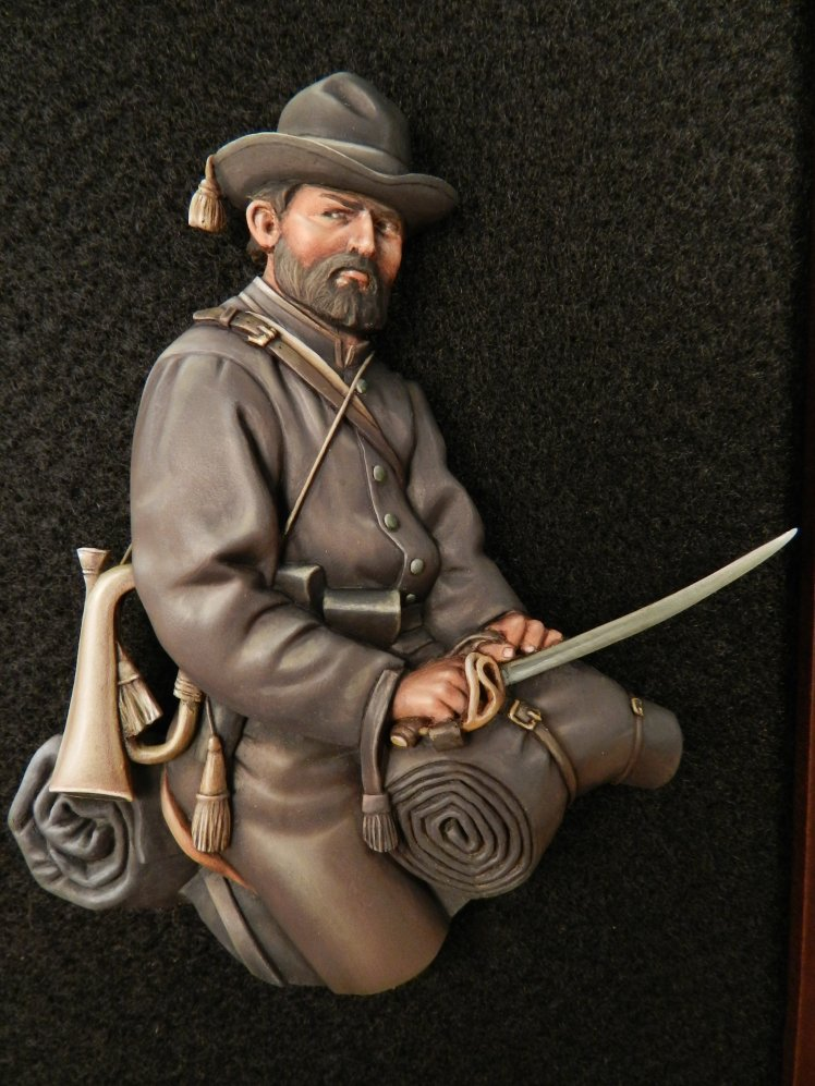 APG 9 Confederate Cavalryman unpainted relief. APG9
