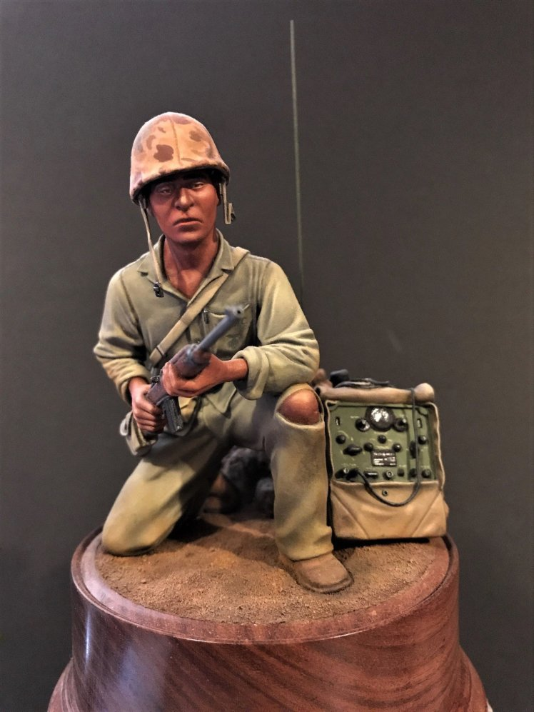 Navajo Codetalker 5th Marine Div Iwo Jima Feb 1945 painted kit by Rick Rutter P022