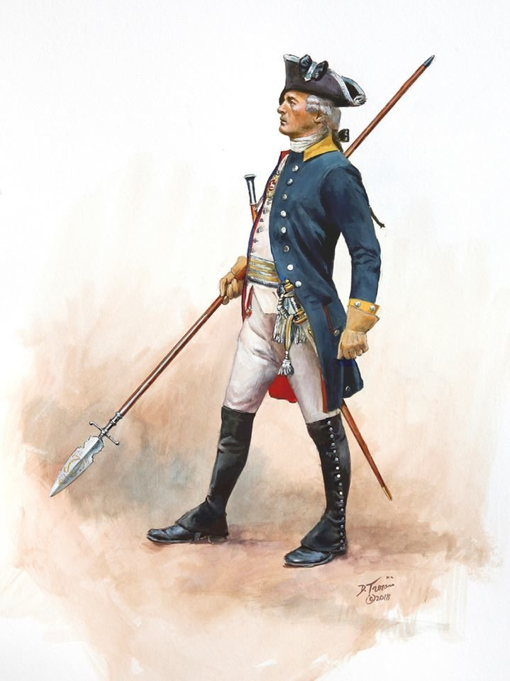 Painting of a Brunswick Prinz Frederich Regiment Officer 1777 T1