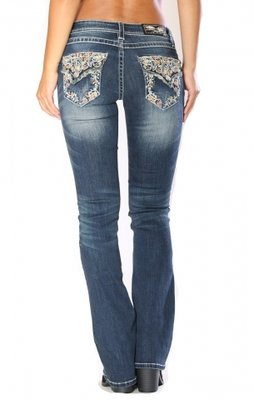Multi Floral Easy Fit Bootcut Jeans