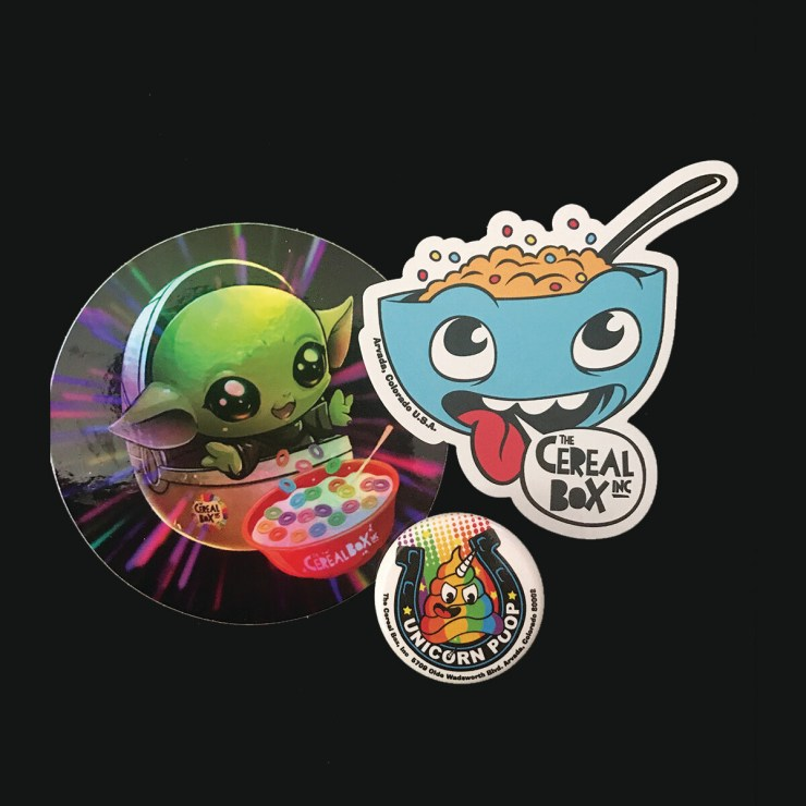 Cereal Box Sticker, Pin & Magnet Pack 2!
