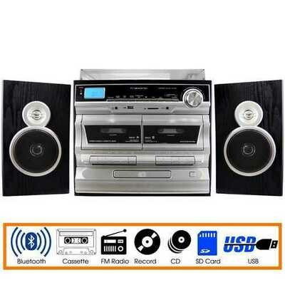 Trexonic 3-Speed Vinyl Turntable  Home Stereo System with CD Player, Double Cassette Player, Bluetooth, FM Radio & USB/SD Recording