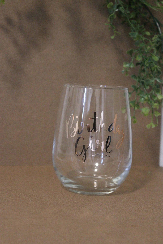 Wine Glass - Birthday Girl - Rose Gold