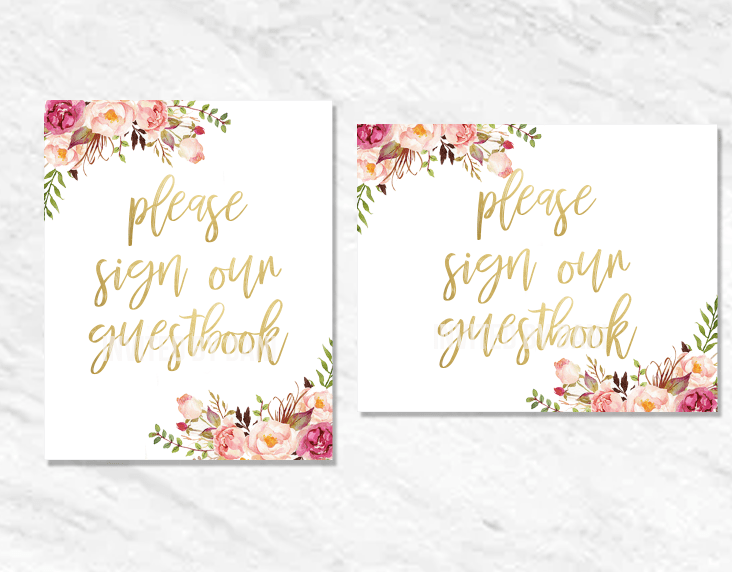 Peonies | Please Sign Our Guestbook | Printable Good 00201