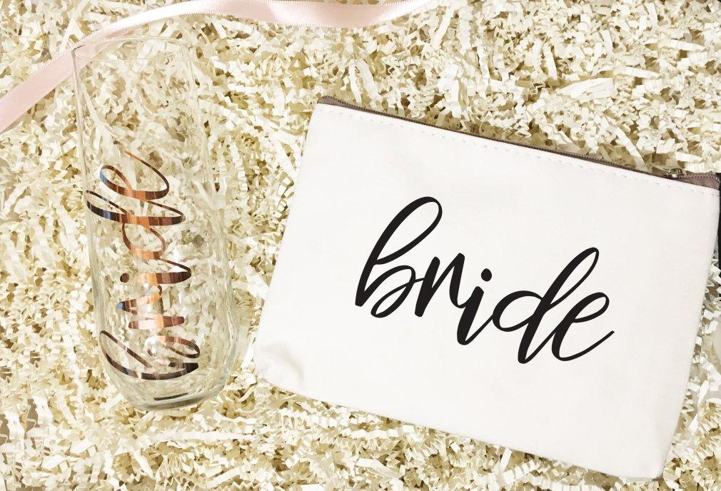 Champange Glass & Make Up Bag | Bridesmaid Gifts 00207