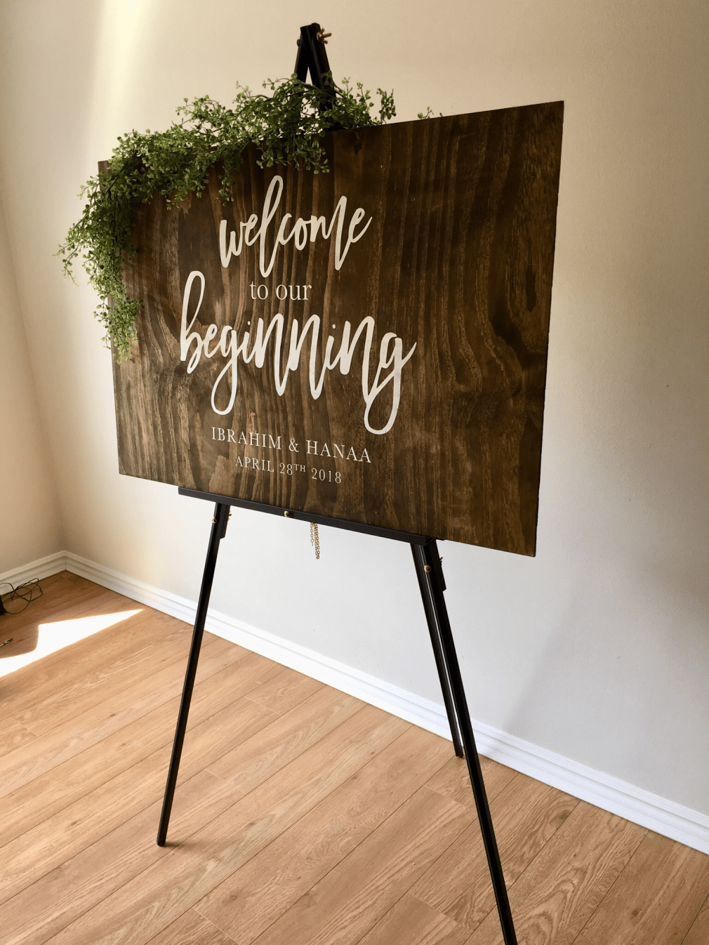 Welcome to our beginning | Wood Sign 00227