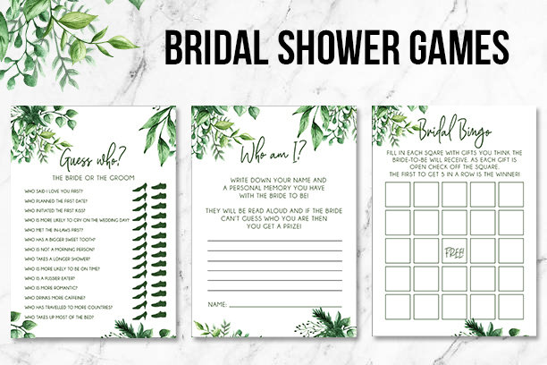 Green Foliage | Bridal Shower Games | Printable Good 00238