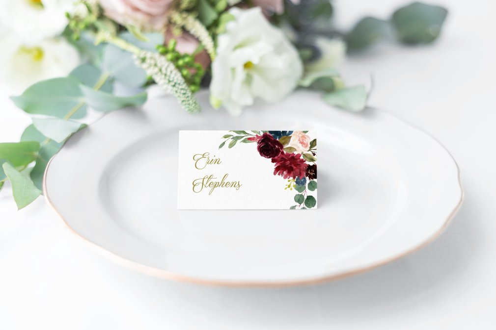 Burgundy & Navy Floral Place Cards 00243