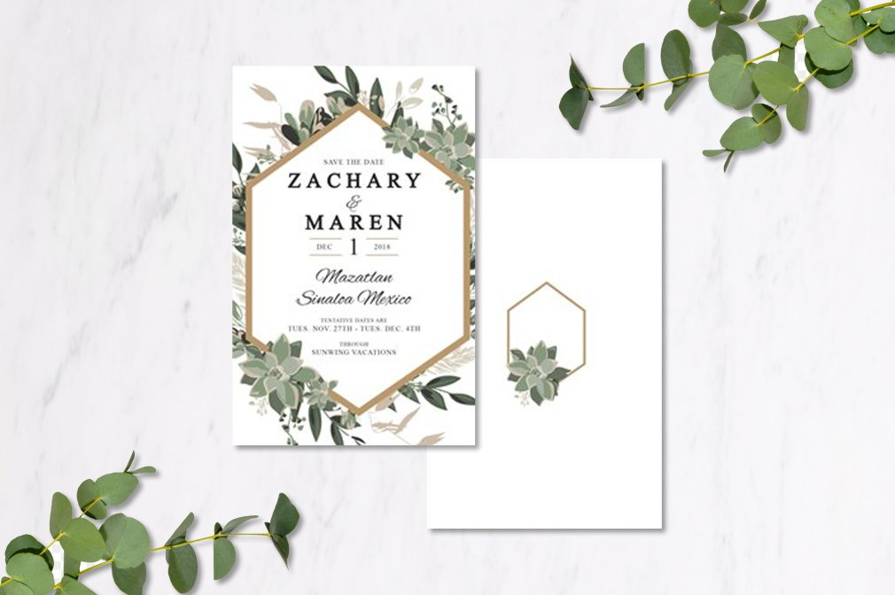 Eucalyptus & Gold Geometric Invitations 00249