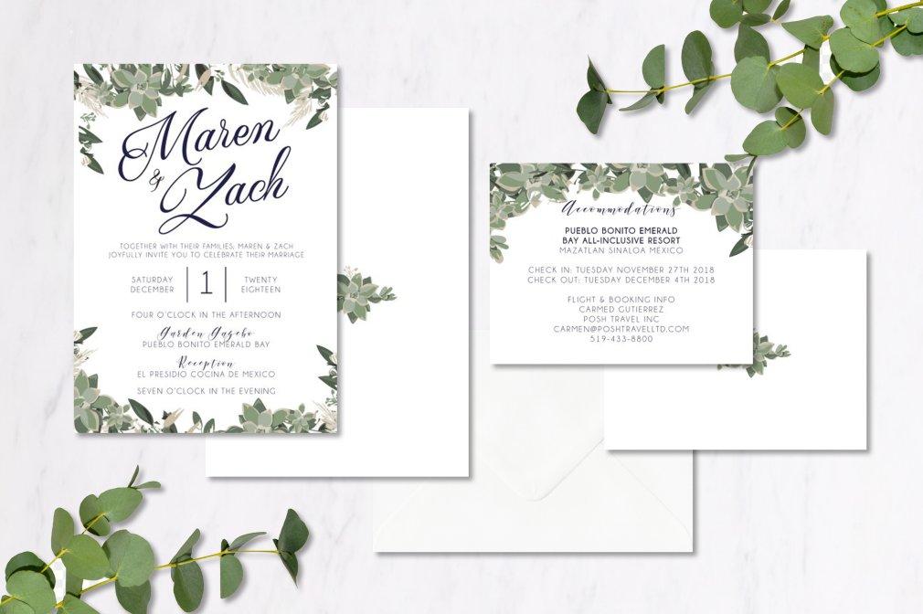 Navy & Eucalyptus Invitations 00255