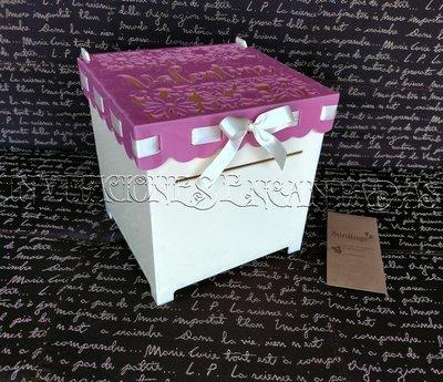 Caja Donaciones Acrilico + 50 Sobres de Dinero 20x20x20cms 04