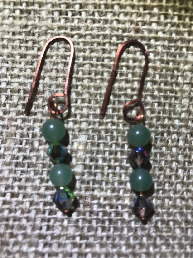 Copper Dangle Earrings (w/Aventurine&Swarovski) CoasDang001s