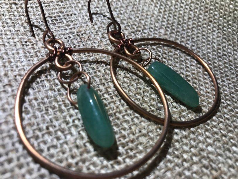 Dangle Hoop Earrings (w/Aventurine) CoaLgDHoop001