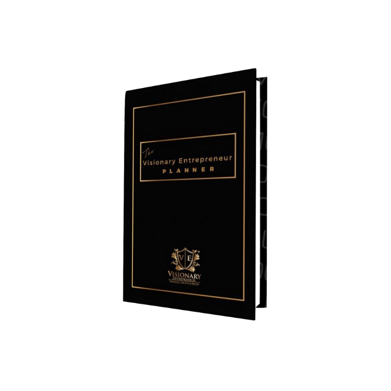 The Visionary Entrepreneur Planner © 2019 Edition - Black -  Undated Monthly & Weekly Calendars  Goals   Vision   Expenses   Journal   Quotes VEP201901