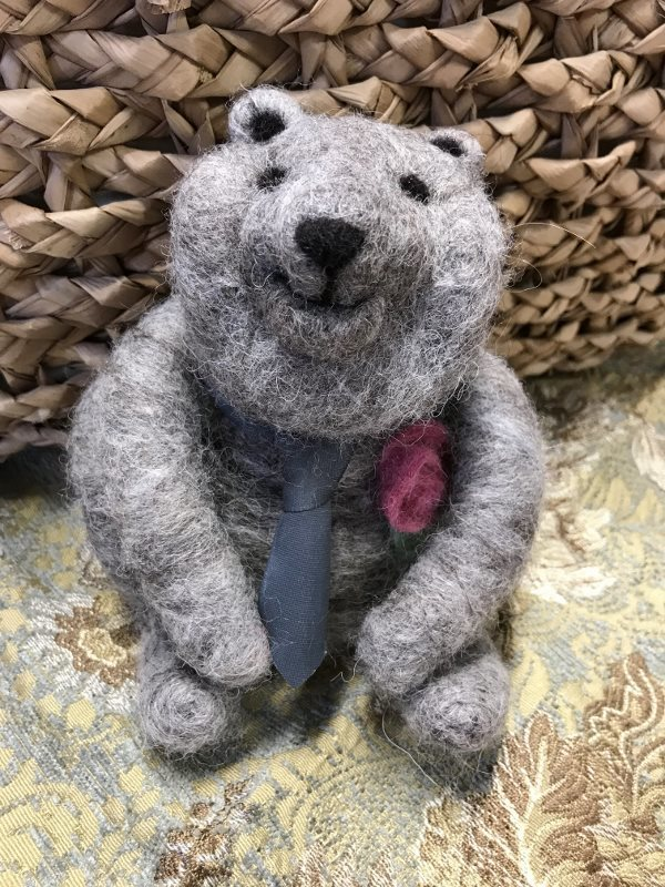 Needle Felted Grey Bear with Tie and Pink Rose 18378