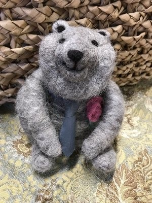 Needle Felted Grey Bear with Tie and Pink Rose