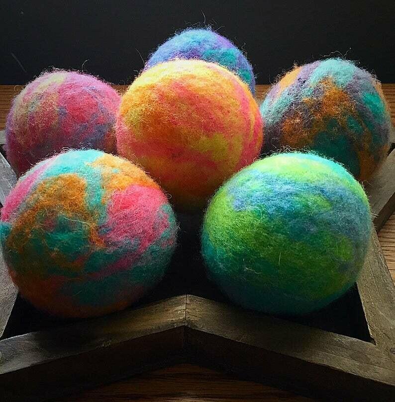 6 Ovella Wool Dryer Balls - Doces Tye Dye Collection