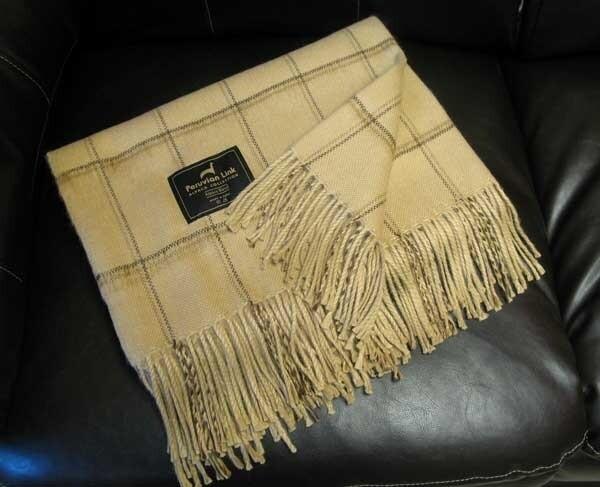 Alpaca Throw - Camel Pin Stripe