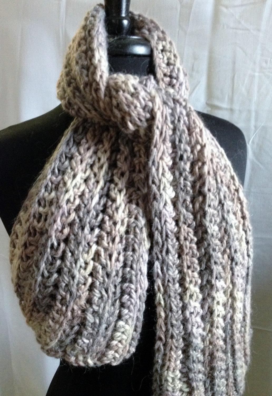 Bulky Ribbed Crochet Scarf 00276