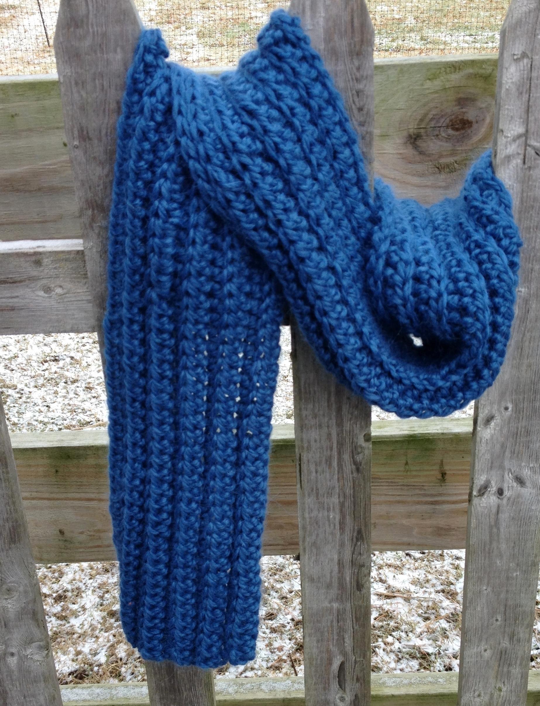 Bulky Ribbed Crochet Scarf 17699BulkRibCrScrf