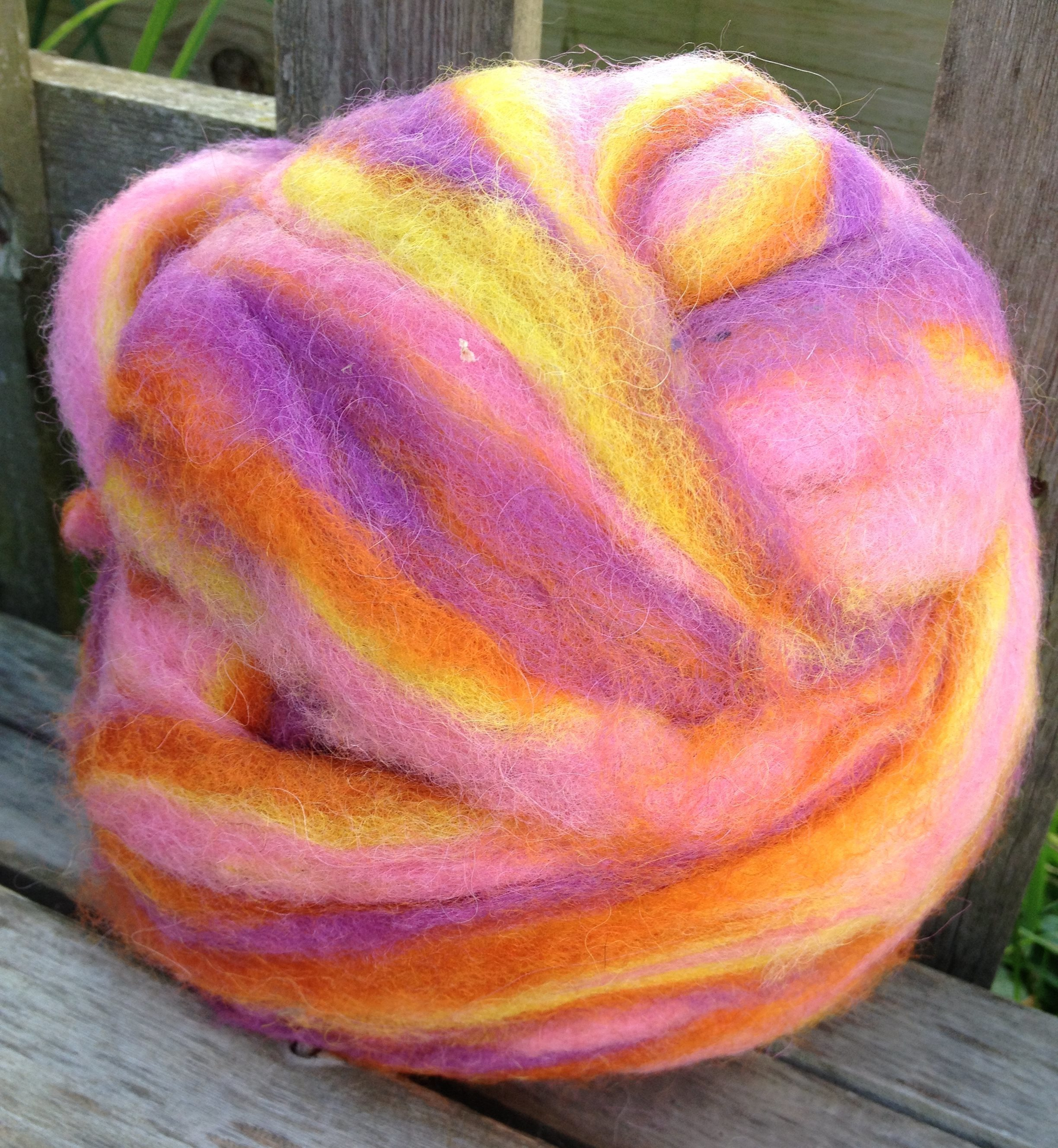 Alpaca Wool Roving - Summer Blooms