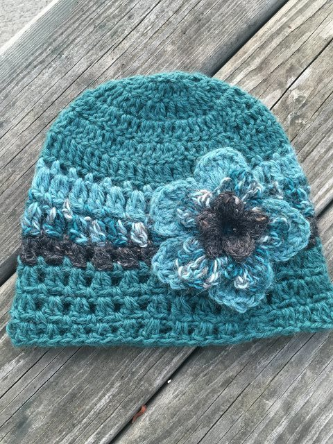 Teal and Gray Alpaca Hat with Flower - Made to Order 17952