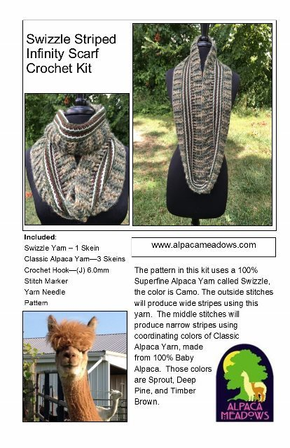Alpaca Crochet Kit - Swizzle Striped Infinity Scarf 17961