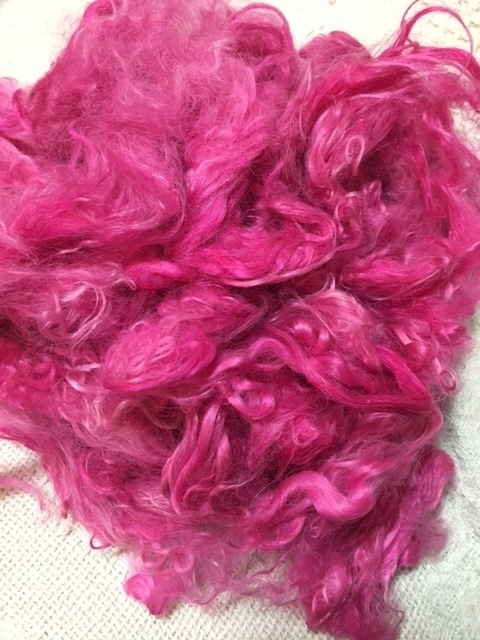 Hand-Dyed Suri Alpaca Fiber, 5.5 Inches, Primula