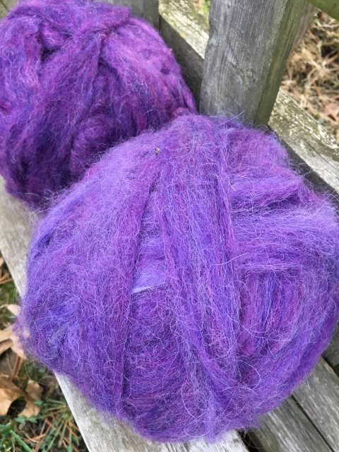 Alpaca Wool Roving - Purple