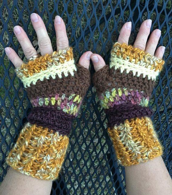 Fingerless Alpaca Gloves - Yellow, Gold, Rust, Brown 18062
