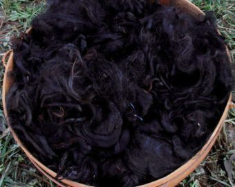 Suri Alpaca Fiber, 4 Inches, True Black, 2 Ounces, Mayflower