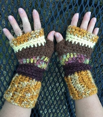 Fingerless Alpaca Gloves - Yellow, Gold, Rust, Brown