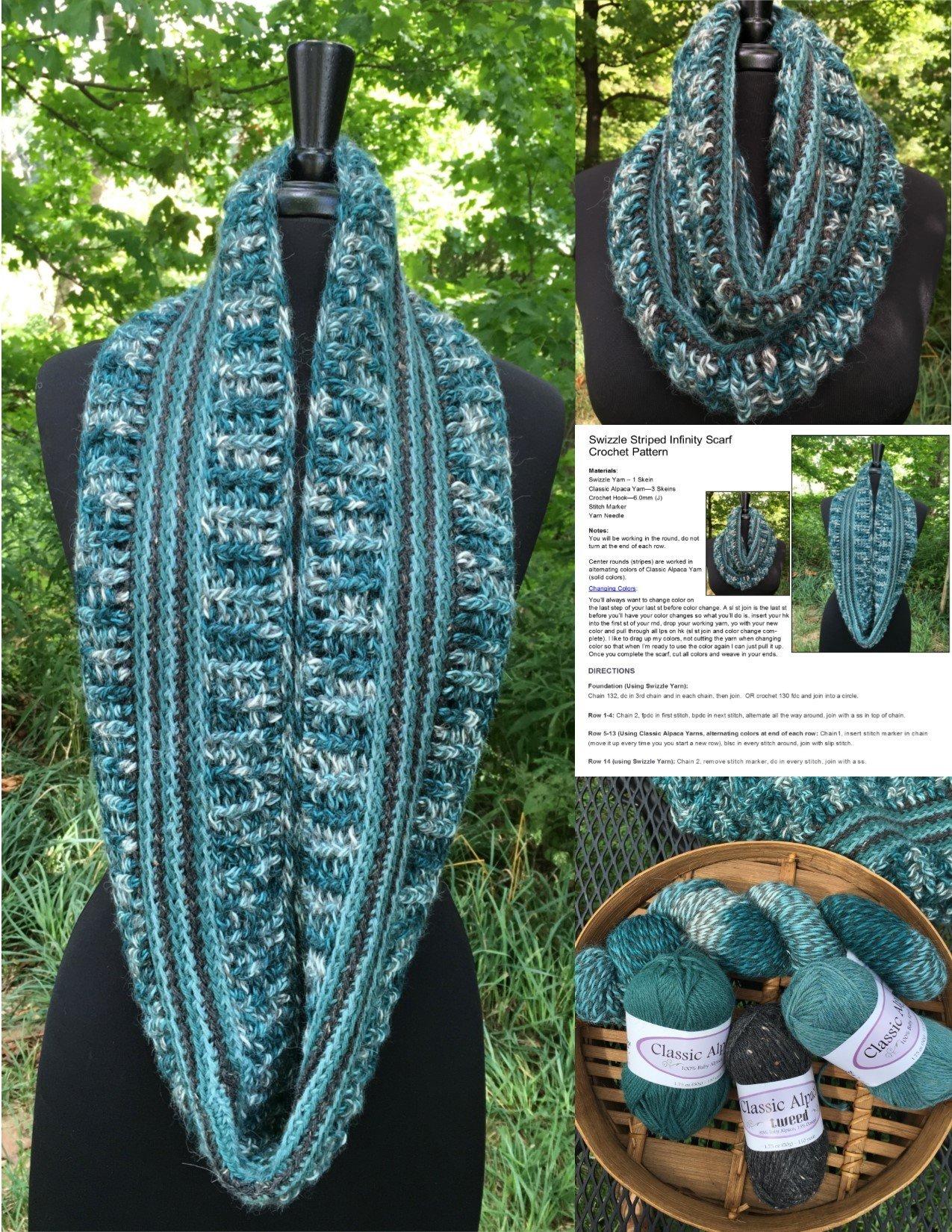Alpaca Crochet Kit - Swizzle Striped Infinity Scarf 18181-TotTeal
