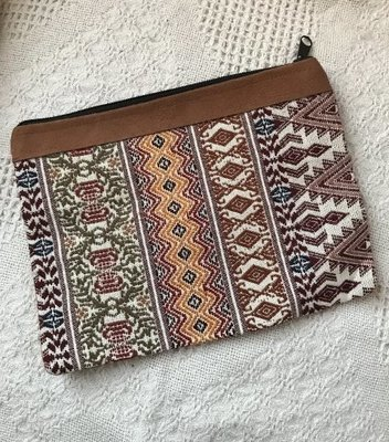 Handwoven and Leather Pouch