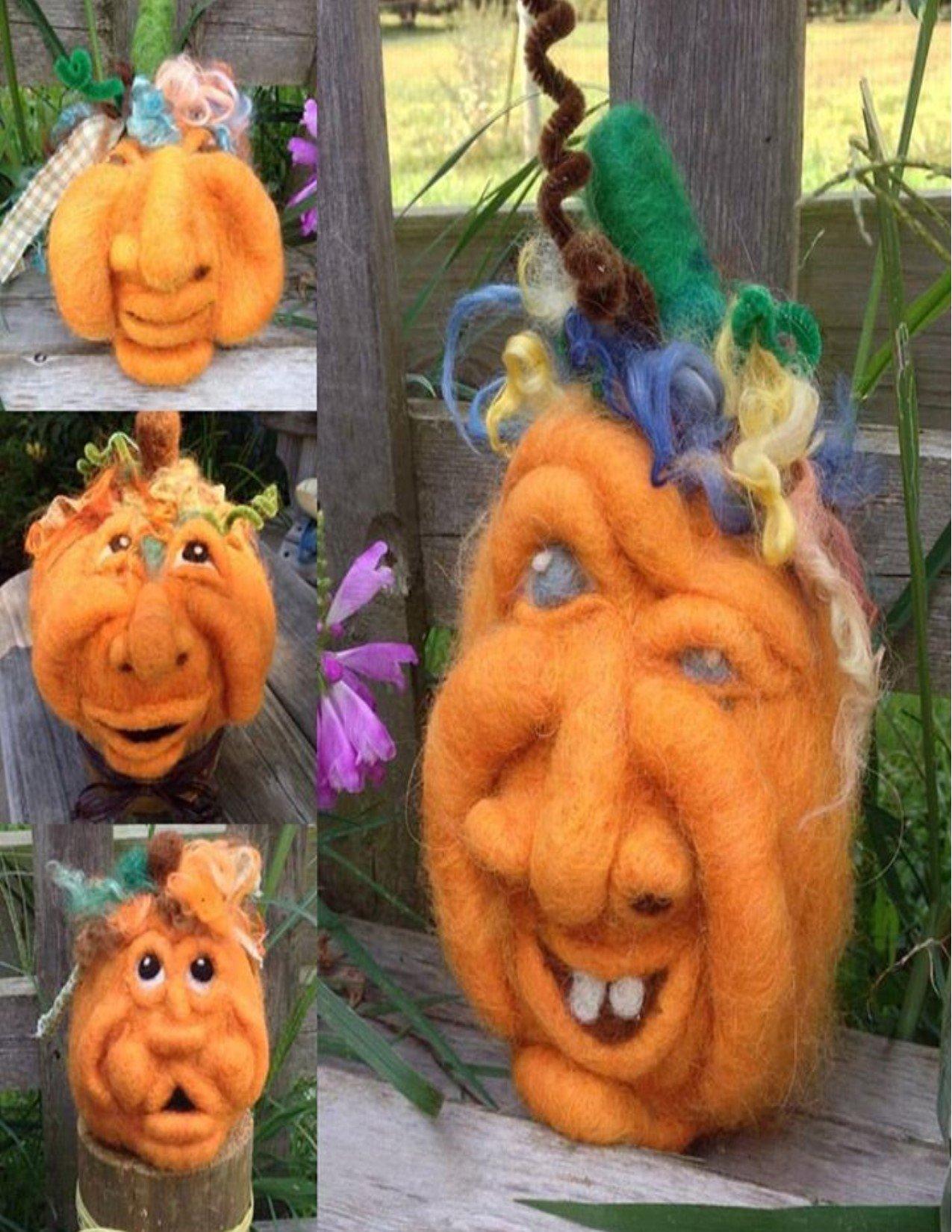Pumpkin Faces Needle Felting Class AMDWSPUMPKIN