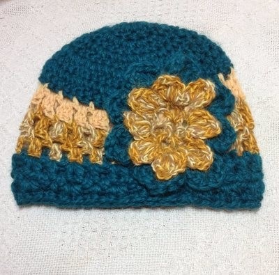 Alpaca Hat - Green, Gold, with Flower