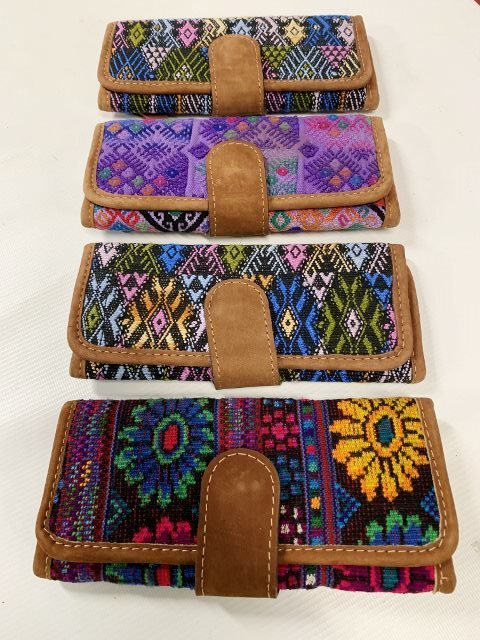 Handwoven and Leather Tri-Fold Wallet 18308