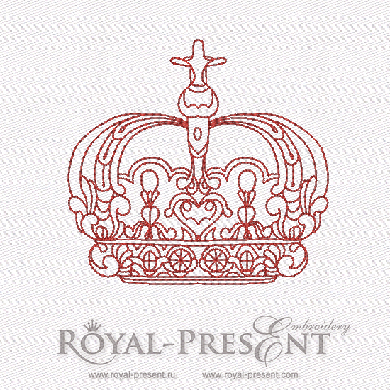 Red work King Crown Machine Embroidery Design