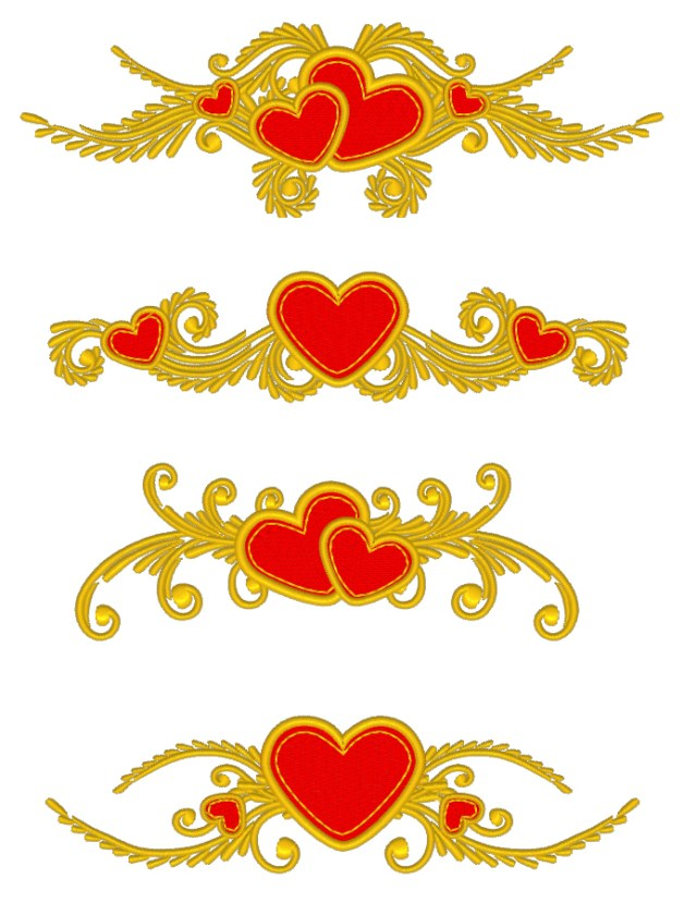 Machine Embroidery Designs - Floral set with hearts RPE-770