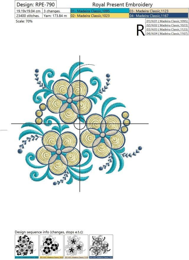 Machine Embroidery Design Yellow Garden flowers