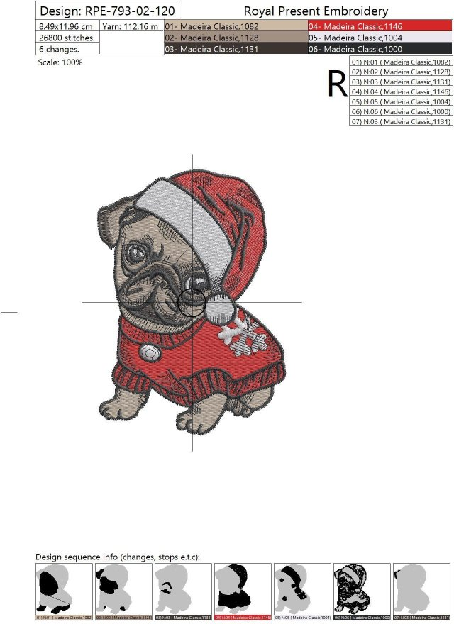 Machine Embroidery Design Christmas Puppy Pug - 4 sizes